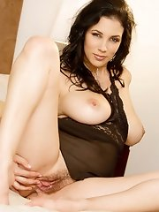 Jelena Jensen showing her clean hairy pussy